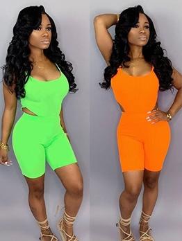Bright Color U Neck Skinny Two Piece Short Set