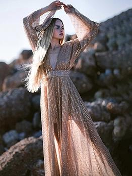 Backless Sequin Long Sleeve Blush Evening Dress
