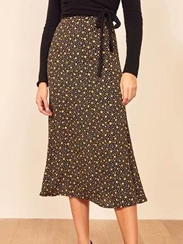 Pastoral Style Daisy Print High Waist Midi Skirt
