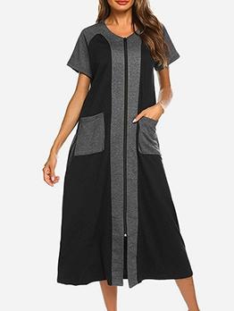 Leisure Dual Pockets Patchwork Short Sleeve Maxi Dress