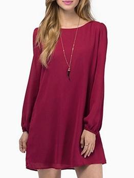 Back Crisscross Solid Chiffon Dresses For Women