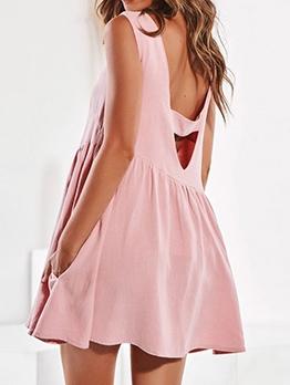Backless Sleeveless A-Line Short Dress