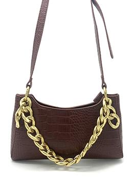 Crocodile Print Golden Thick Chain Shoulder Bags