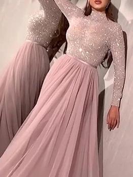 Sequin Large Hem Gauze Pink Evening Dress