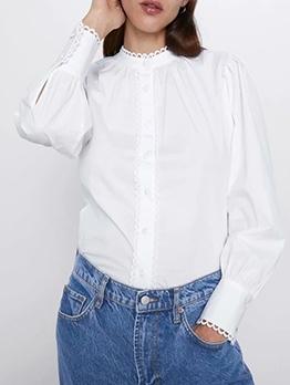 All White Corrugated Edge Blouse