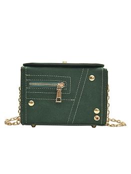 Matt Pu Box Shape Spin Lock Chain Shoulder Bags