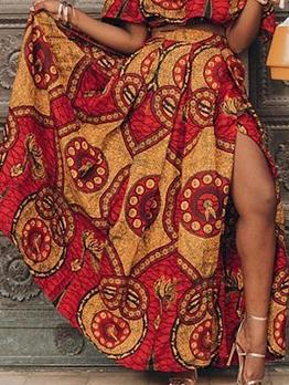 National Style Printed High Split Maxi Skirt