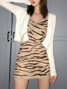 Fashion V Neck Leopard Sleeveless Mini Dress