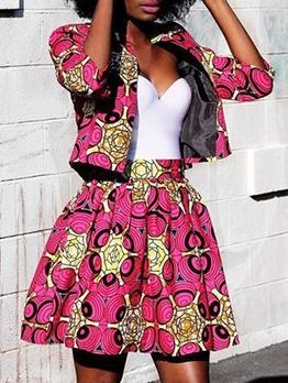National Printed Three Quarter Sleeve Two Piece Skirt Set