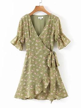 Flare Sleeve Floral Warp Dress For Women