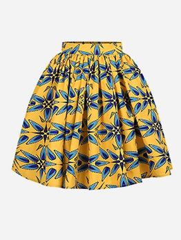 National Style Printed Short Skirt