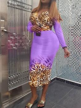 Contrast Color Leopard Print Two Piece Skirt Set