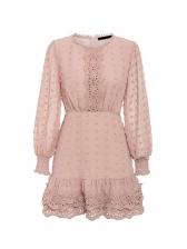 Fashion Solid Flower Patchwork Chiffon Dresses Online