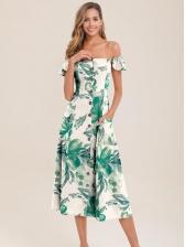 Single-Breasted Print Women Sleeveless Dress