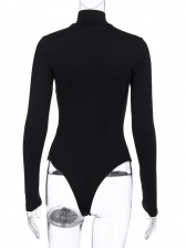 Line Printed Tight Black Long Sleeve Bodysuit