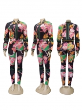 Stitching Color Printing Stand Collar 2 Piece Outfits