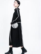 Loose Contrast Color Long Sleeve Midi Dress