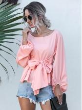 Bowknot Tie-Wrap Lantern Sleeve Pink Blouse