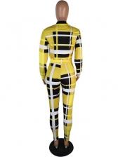 Casual Zipper Up Plaid Two Piece Pants Set