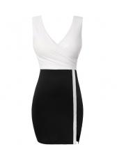 Deep V Neck Contrast Color Sleeveless Bodycon Dress