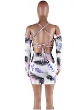 Sexy Printed Backless Long Sleeve Crop Top Top Skirt Set