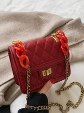 Acrylic Chain Patchwork Rhombus Shoulder Bags