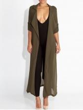 Solid Long Sleeve Tie-Wrap Chiffon Long Coat