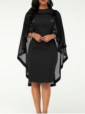 Cloak Style Gauze Panel Plus Size Dress For Party
