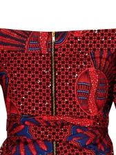 Printed Tie-Wrap Short Sleeve Off The Shoulder Jumpsuit