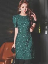 Elegant Jacquard Weave Green Short Sleeved Dress