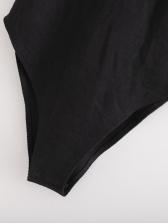 Exaggerated Gauze Decor Sleeveless Black Jumpsuit