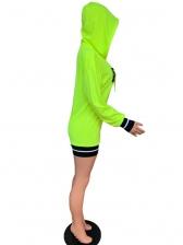 Letter Fluorescent Green Long Sleeve Hoodies