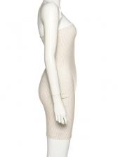 Euro Plaid Strapless Bodycon Dress