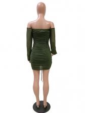 Deep V Neck Lantern Sleeve Mini Club Dress