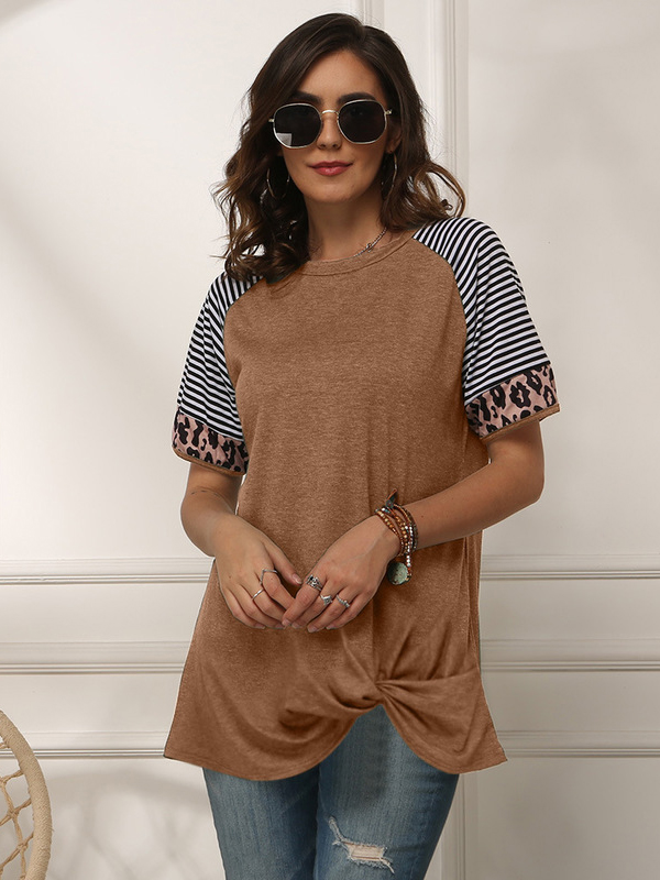 Striped Sleeve Leopard T Shirts For Women