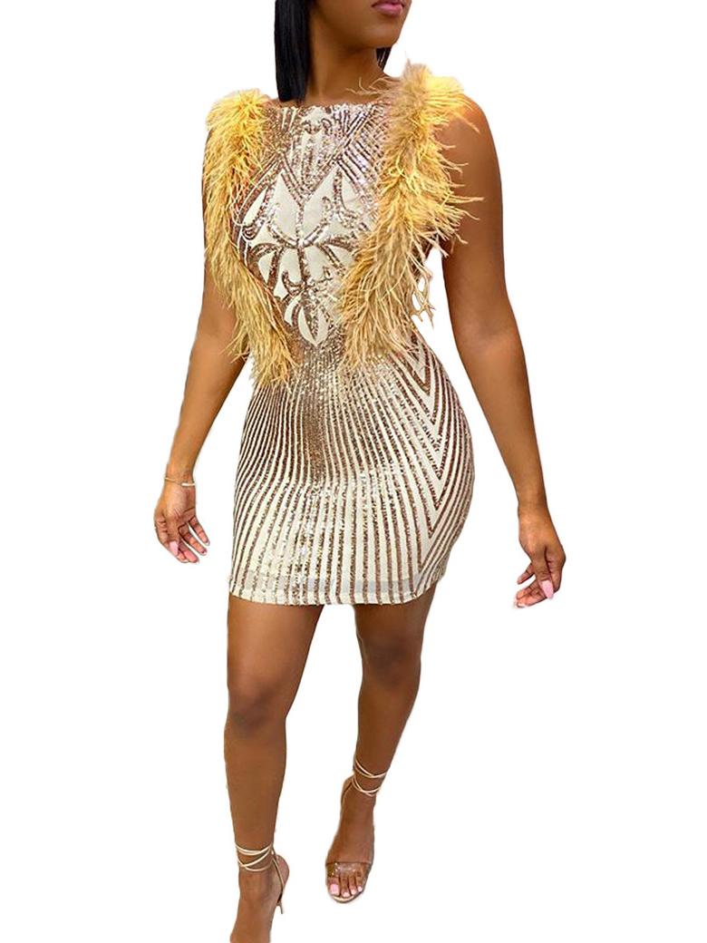 Feather Decor Sleeveless Bodycon Sequin Dress