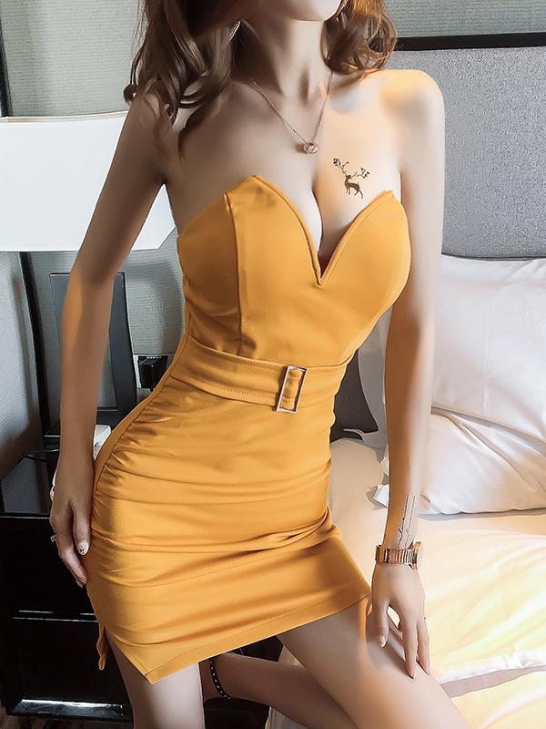 Low-Cut Bodycon Strapless Mini Dress For Club