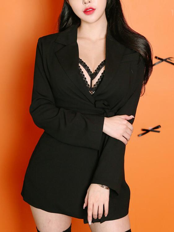 Chic Tie-Wrap Lapel Long Sleeve Black Blazer
