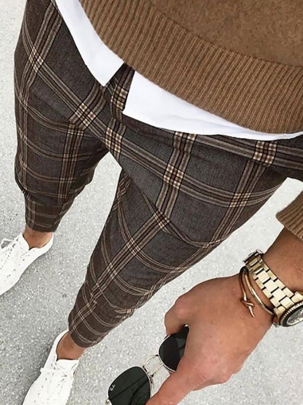 Casual Plaid Mid-Waist Mens Pants