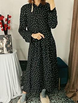 Loose Polka Dots Long Sleeve Midi Dress