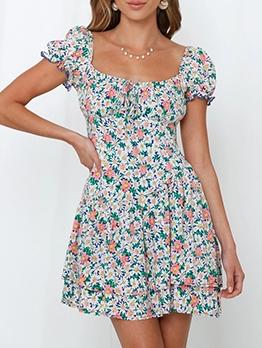 Square Neck Mini Short Sleeve Floral Dress