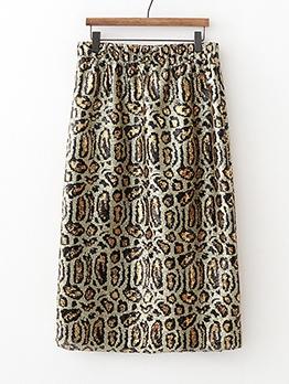 Versatile Sequined Leopard Print Midi Skirt