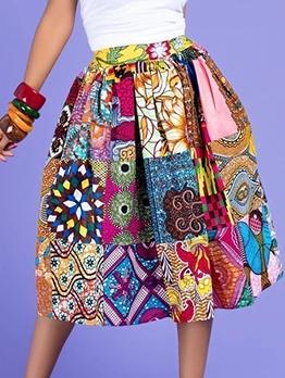 Color Block Tribal Print Large Hem Women Skirt
