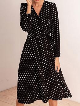 Hot Sale Polka Dots v Neck Ladies Dress