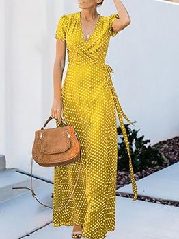 Casual V Neck Polka Dot Short Sleeve Wrap Dress
