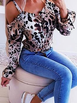 Cold Shoulder Loose Leopard Print Blouse