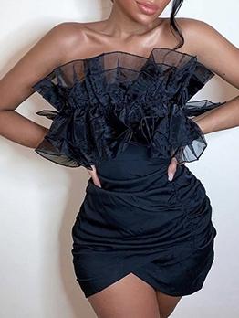Gauze Patchwork Black Strapless Bodycon Dress