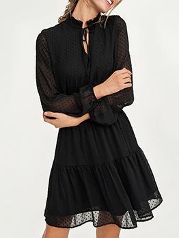Overlay Patchwork Dots Black Long Sleeve Dress