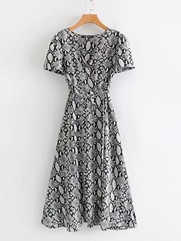 Fashion V Neck Tie-Wrap Snake Print Maxi Dress