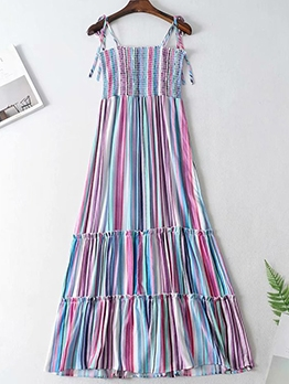 Colorful Striped Loose Sleeveless Maxi Dress For Vacation